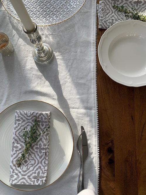 Nordic grey blockprint napkins