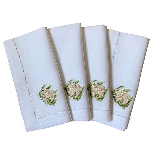 Cauliflower embroidered linen napkins, set of 4