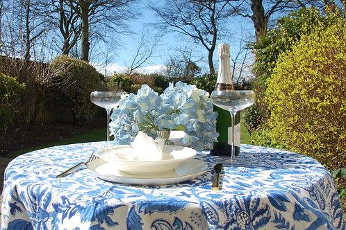 Blue riviera blockprint tablecloth