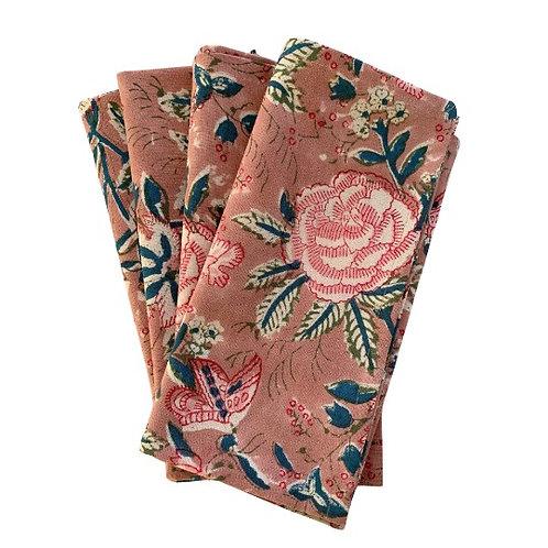 Rose garden blockprint napkins