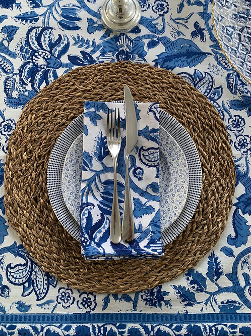 Blue riviera blockprint napkins (Set of 4)