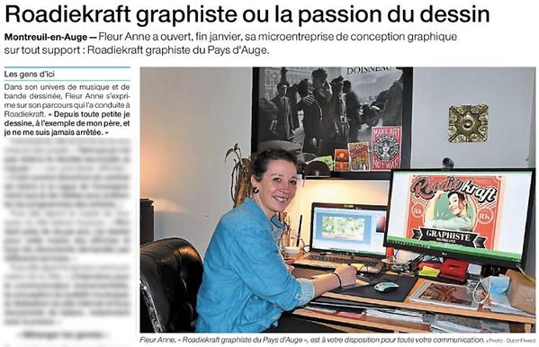 Roadiekraft graphiste ou la passion du dessin - Ouest France - 3 fevrier 2021