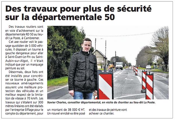 Des travaux pour plus de securite sur la D50 - Le Pays d'Auge - 3 fevrier 2021