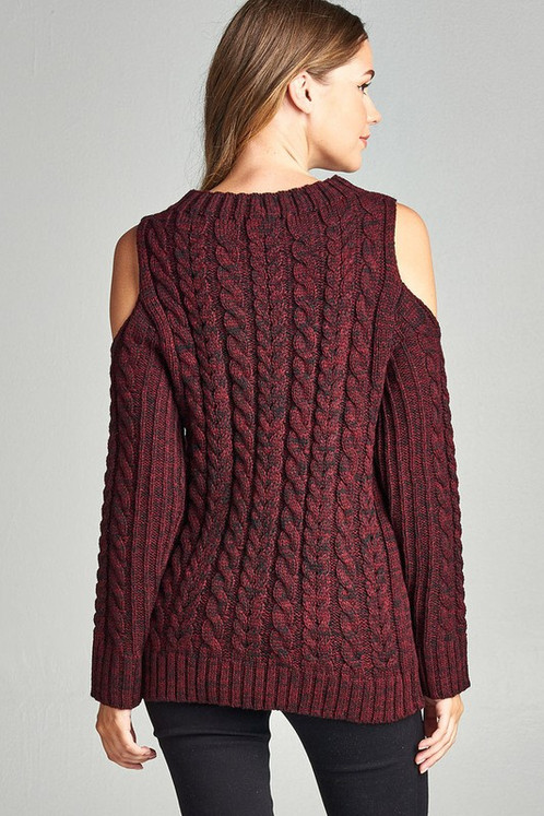 5f2e6ef17ca24c LONG SLEEVE HIGH NECK OPEN SHOULDER MARLED CABLE SWEATER
