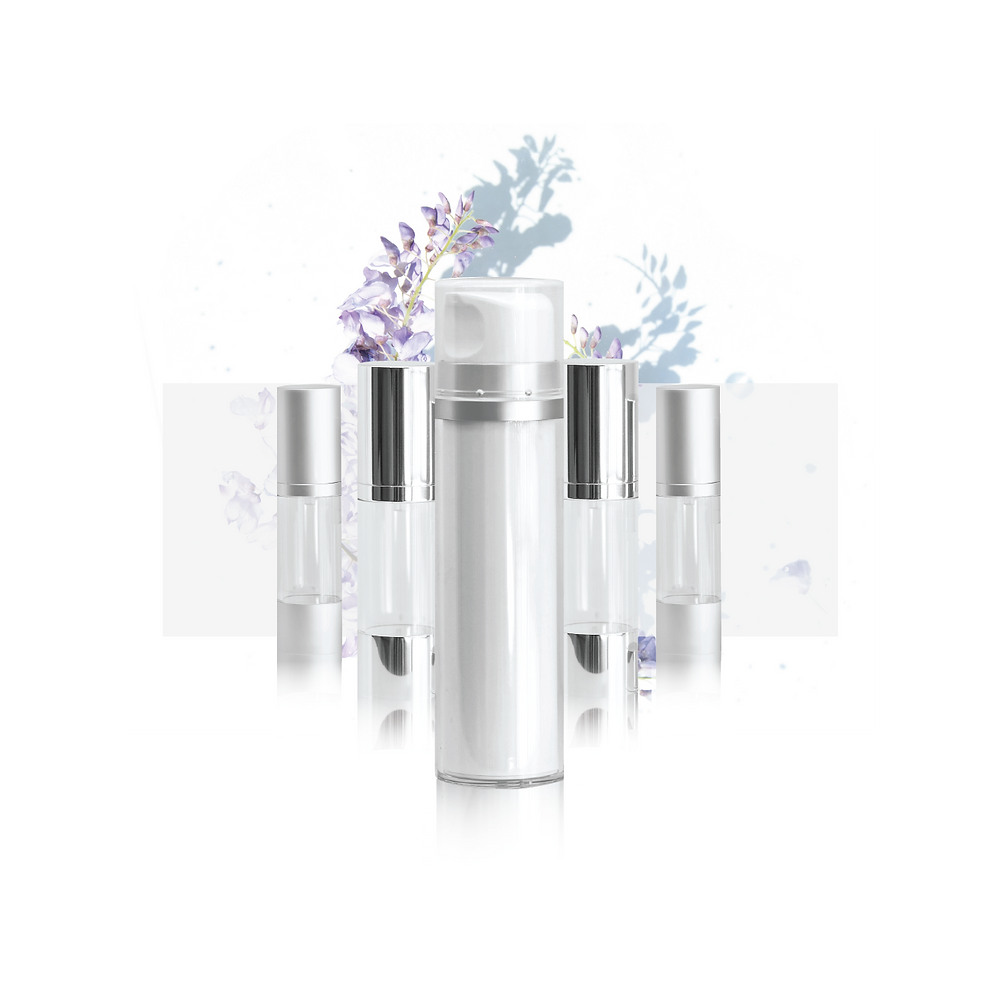 A range of eco friendly plastic airless pump bottles appear in an organized manner on a  white surface. Visit the Floraison products page to explore some plastic and glass airless pump bottles in South Africa.  For the best looking eco friendly cosmetic packaging in South Africa.