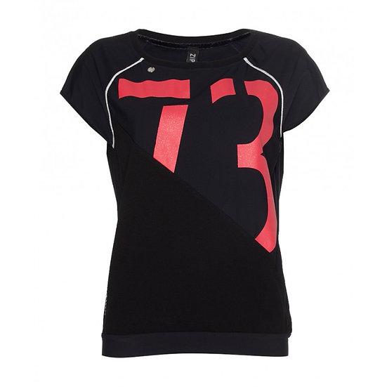 Top zwart/rood Zip73