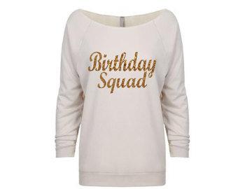 Birthday Squad Long Sleeve - Off Shoulder Shirt