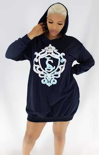 LS-Opaque Crested Hoodie Dress