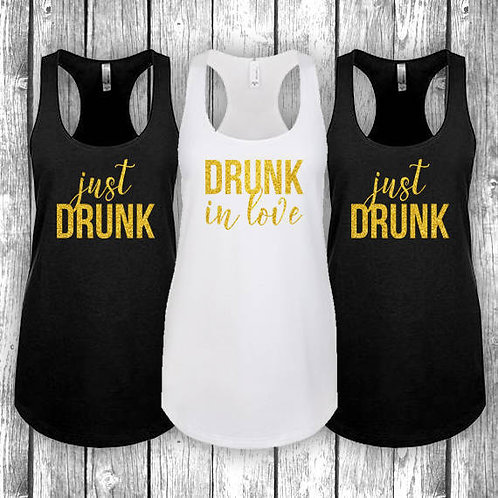 Drunk In Love-Just Drunk Bridal Party Tees (Set of 3)