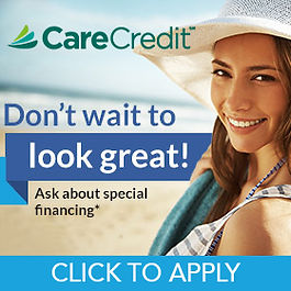 Care Credit Logo with woman smiling on the beach