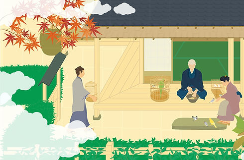 日本家屋の軒先で小鳥の餌を作っている様子