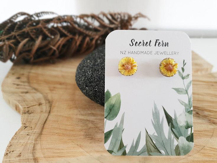 Yellow flower studs