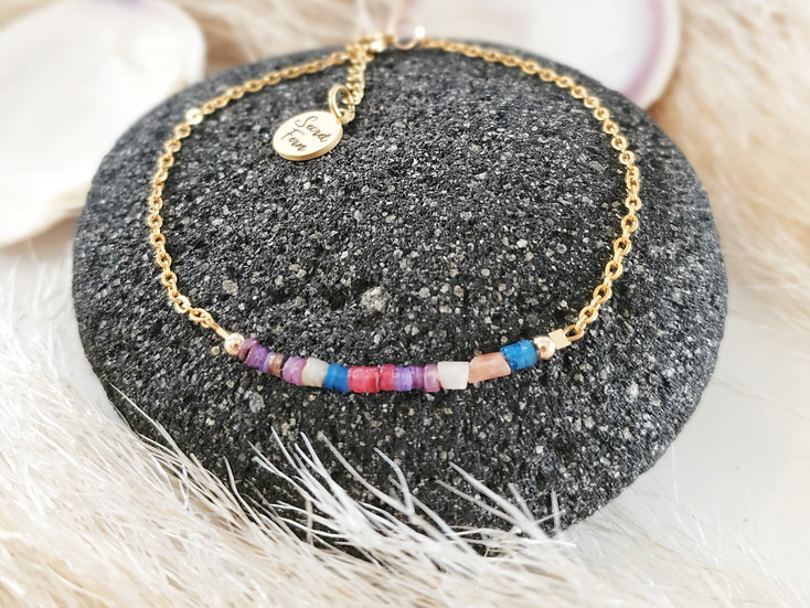 Rainbow Shell & Surgical Steel Anklet