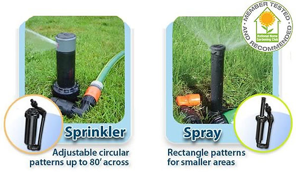 Quick-Snap lawn sprinkler and spray are member tested and recommended by the National Gardening Club