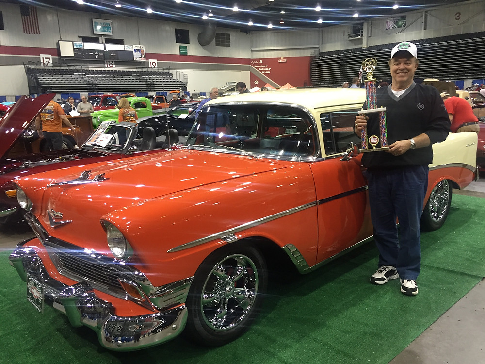 John Riffe with his 1st. place trophy. This car is for sale for $37,500 which is exactly the right price based on our research.