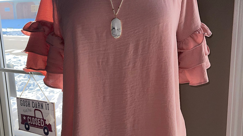 Ruffle Sleeve Pink Top