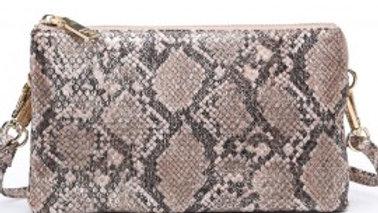 Metallic & Snakeskin Monogrammable Clutch/Crossbody Bag