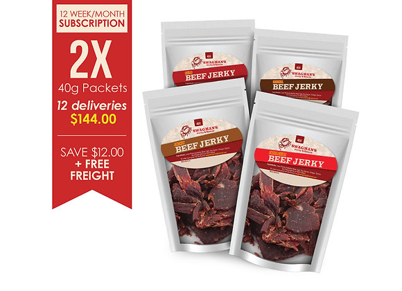 12 Deliveries Beef Jerky 40g Subscription Double Pack