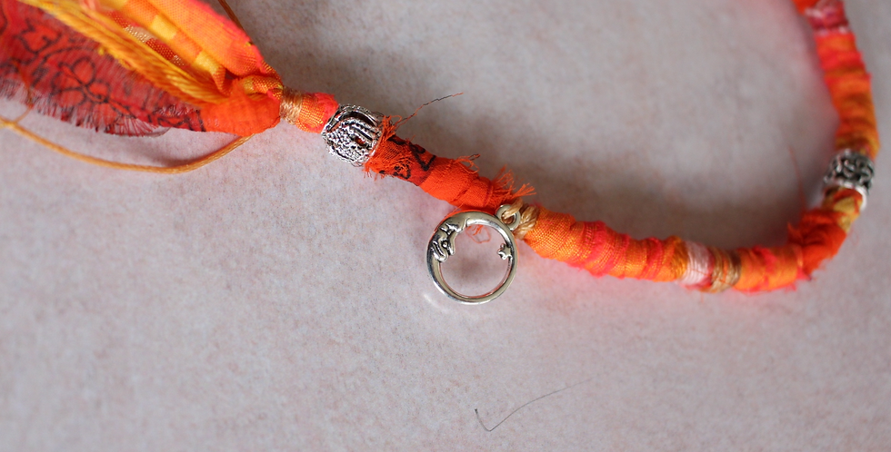 Recycled Sari Hairwrap-Medium, Oranges