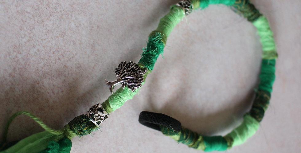 Recycled Sari Hairwrap- Medium, Greens