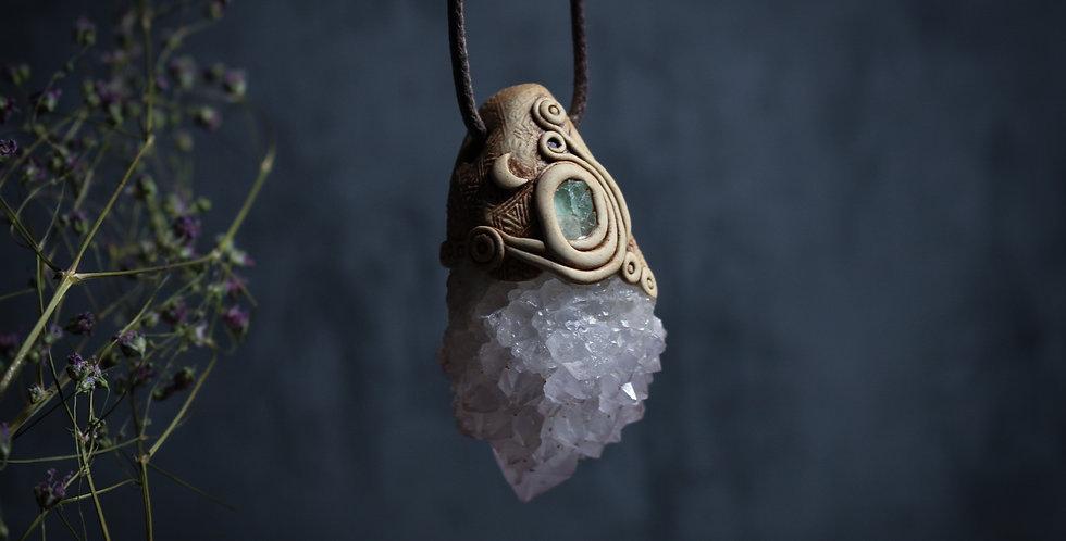 Amethyst Spirit Quartz with Cornish Fluorite