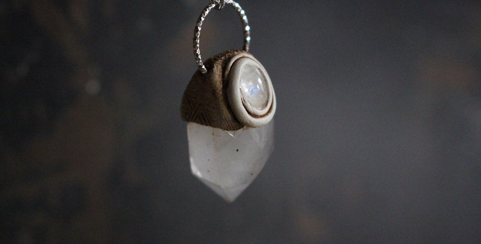 Cornish Quartz and Moonstone with Sterling Silver