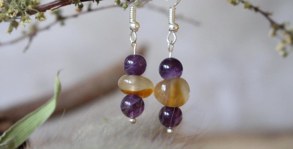 Amethyst and Carneilian Earrings