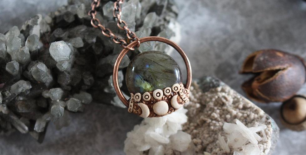 Labradorite, Triple Goddess Choker, Copper