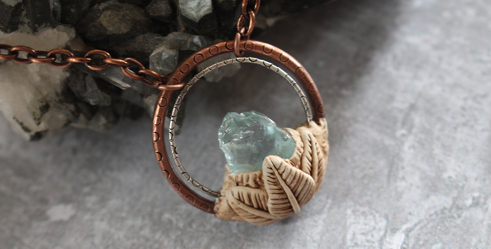Raw Aquamarine Choker, Copper