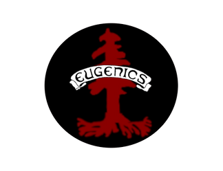 "Our logo: a red redwood tree similar to Stanford's logo. In front of it, a banner reads ""eugenics."" This was inspired a similar historical image of the same banner in front of a tree."