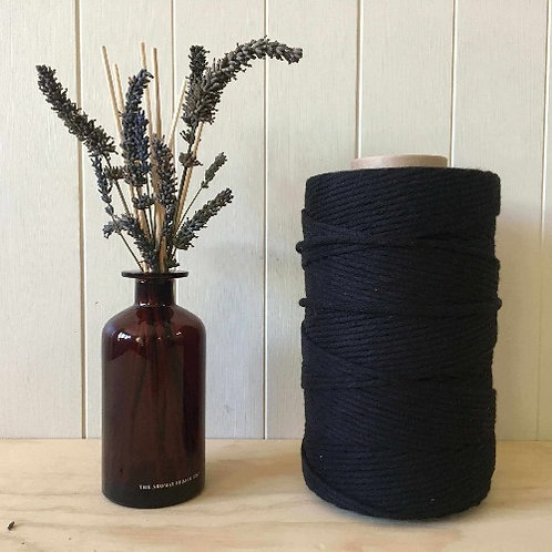 4mm Single Twist Black 100% Cotton String