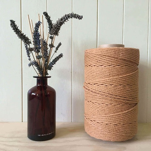 3mm 4ply Twisted Brown 100% Cotton Rope