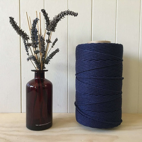 3mm 4ply Twisted Navy 100% Cotton Rope
