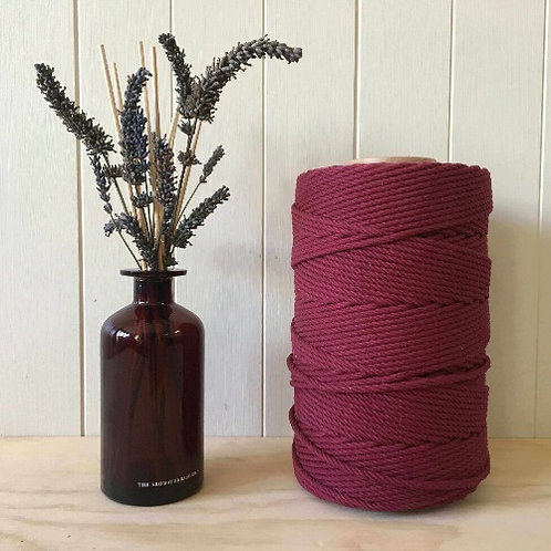 4mm 4ply Twisted Maroon 100% Cotton Rope
