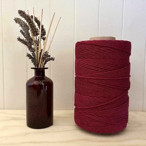 3mm Single Twist Maroon 100% Cotton String