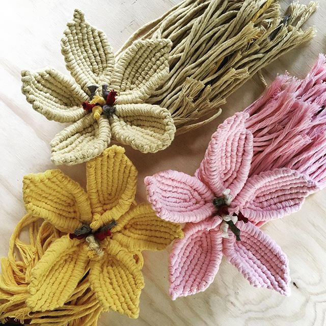 macrame coloured flowers
