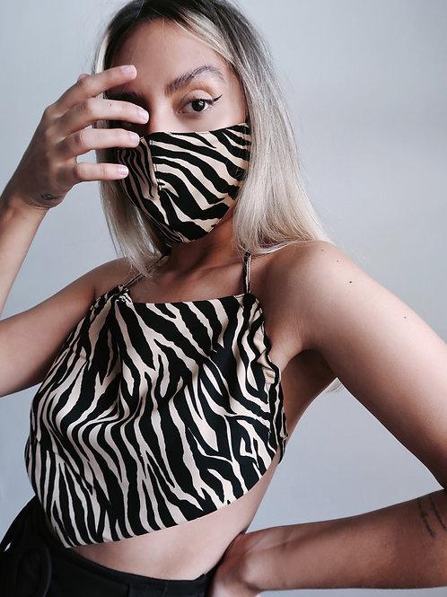 Cropped frente única animal print + máscara