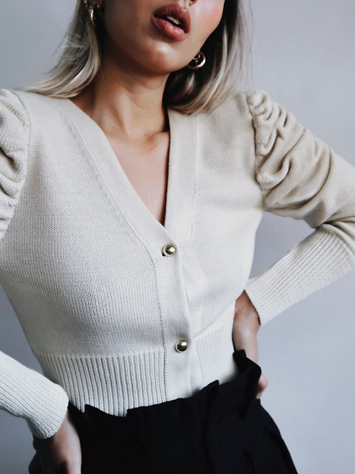Cardigan cropped bege