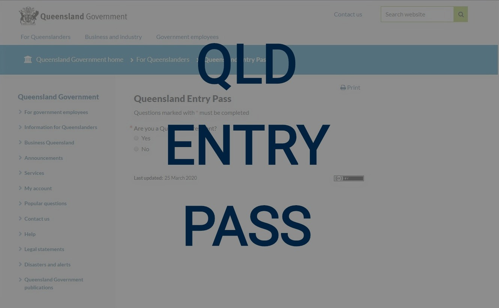 QLD Online Entry Pass Application Req for all Essential ...