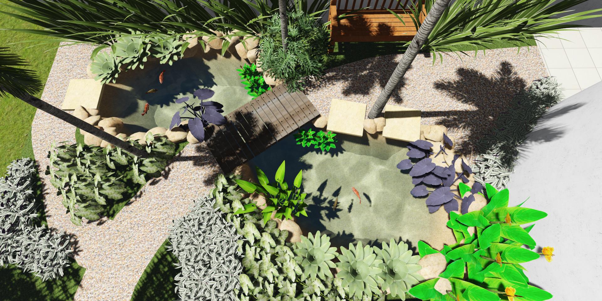 Projeto de um lago de pequeno porte em uma residência em Piraju