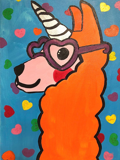 Lovey Dovey Llamacorn Canvas Painting Kit