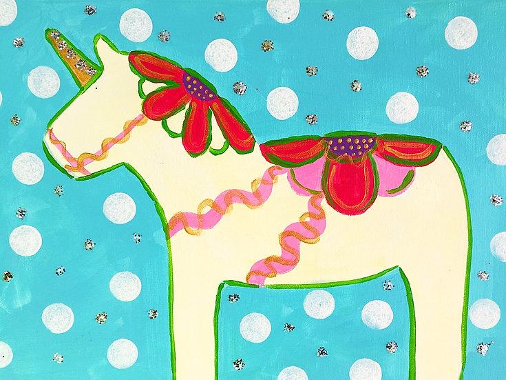 Folk Art Unicorn Canvas Kit