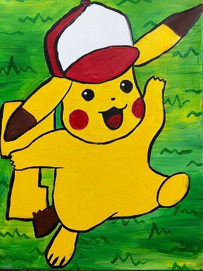 Pikachu with Ash's Hat Canvas Painting Kit