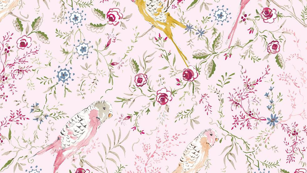 Pink- Birds Yardage