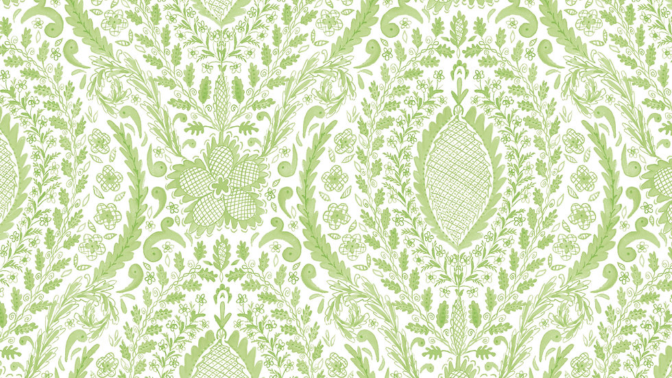 Green- Deco Floral Yardage
