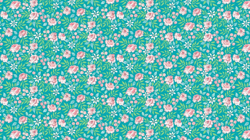 Aqua- Small Flowers Yardage