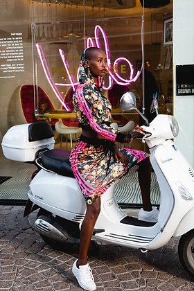 חליפת אדידס צבעונית-ג׳קט וחצאית מקסי