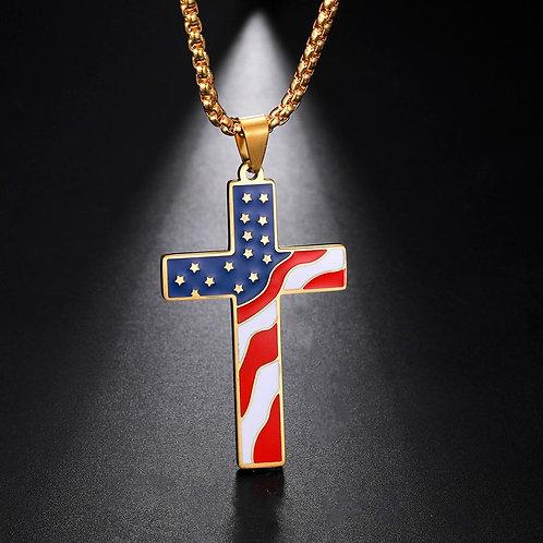 American USA Flag Necklaces Baseball Cross Necklace