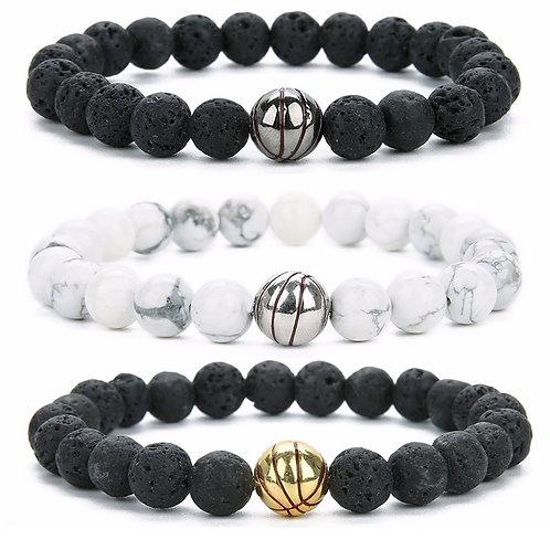 New Lava Stone Baseball Charm Bracelet