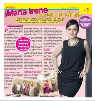 MARIA IRENE TORO ESTÁ EN LA CIMA!
